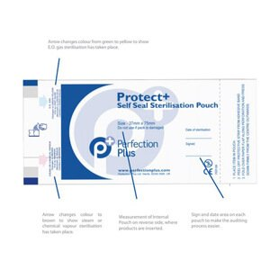 Protect+ Self-Seal Sterilisation Pouches 85mm x 165mm Box of 200 Sold in Case of 10 Units part of Infection Control Category